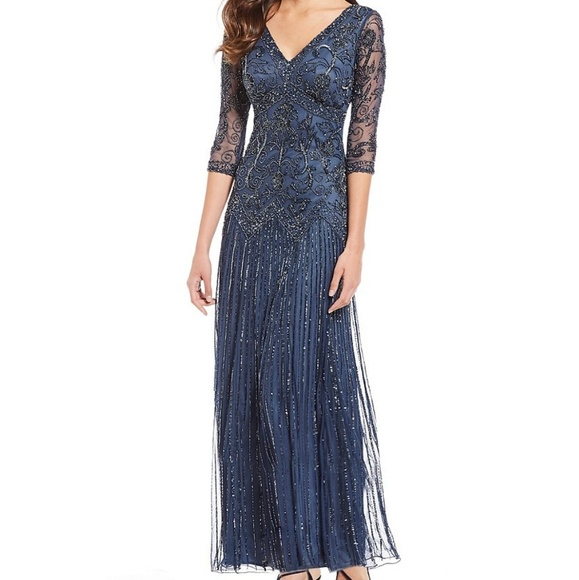 Pisarro Nights Floral Scroll Beaded V Neck Gown 84411ca27